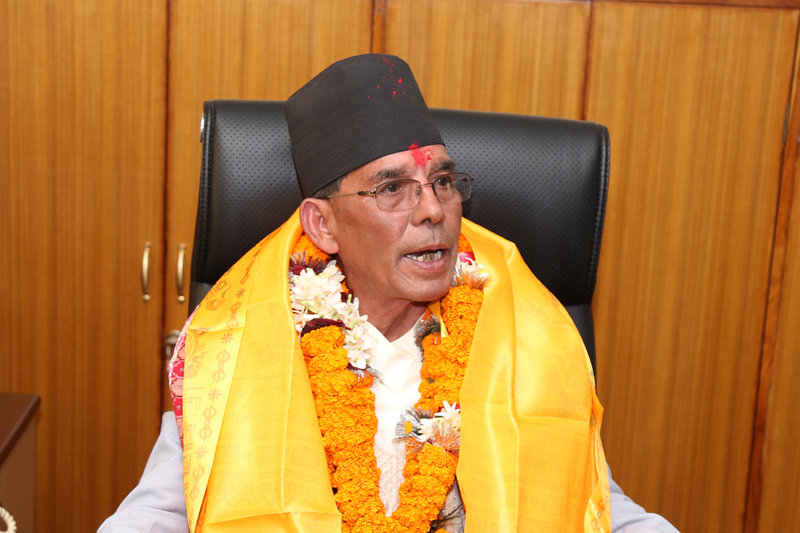Newly appointed Minister for Drinking Water and Sanitation Prem Bahadur Singh interacts with mediapersons after assuming his office in Singha Durbar, Kathmandu, on Thursday, January 19, 2017. Photo: RSS