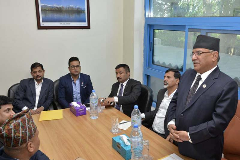 Prime Minister Pushpa Kamal Dahal interacts with Nepalis working in Abu Dhabi and other cities of the United Arab Emirates on Saturday, January 14, 2017. Photo Courtesy: PMu2019s Secretariat