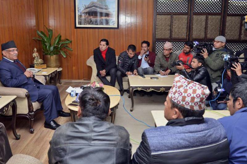 Prime Minister Pushpa Kamal Dahal interacts with officials of the Reporters' Club Nepal at his residence in Baluwatar, on Wednesday, January 4, 2017. Photo Courtesy: PMu2019s Secretariat
