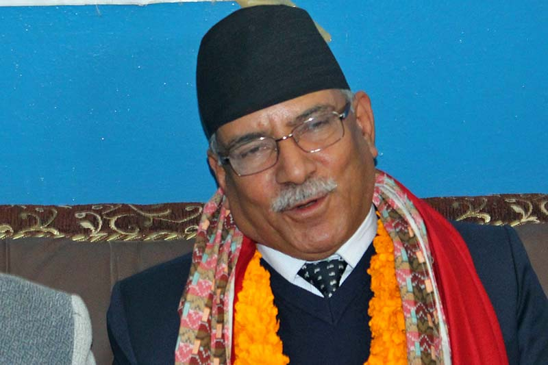 Prime Minister Pushpa Kamal Dahal addresses at a press meet organised by the Press Centre Nepal in Chitwan, on Monday, January 9, 2017. Photo: Tilak Ram Rimal/THT