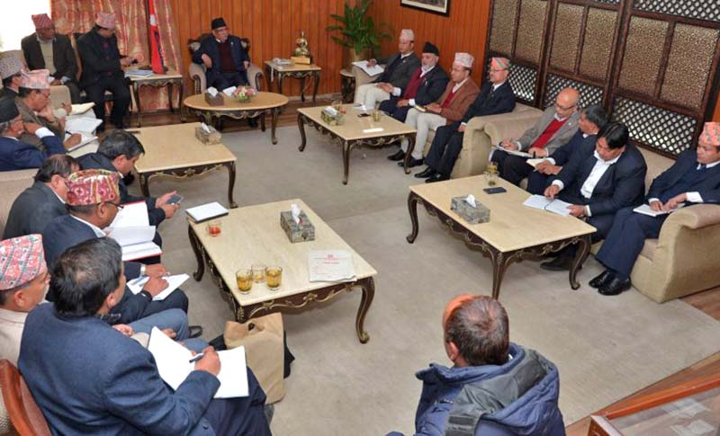 Prime Minister Pushpa Kamal Dahal in a meeting with the stakeholders to end drinking water woes in the Kathmandu Valley, on Thursday, January 5, 2017. Photo Courtesy: PM's Secretariat