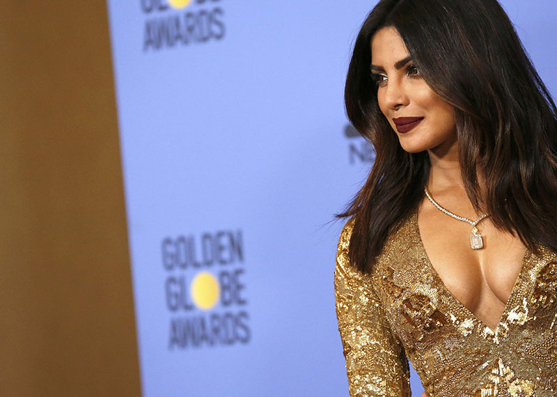 Actress Priyanka Chopra poses backstage after presenting an award during the 74th Annual Golden Globe Awards in Beverly Hills, California, US, on January 8, 2017. Photo: Reuters
