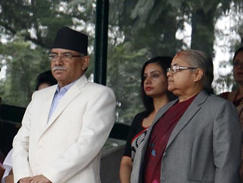 President Bidya Devi Bhandari, Vice-President Nandra Bahadur Pun, Prime Minister Pushpa Kamal Dahal and Chief Justice Sushila Karki observe the annual Phulpati celebration of Nepal Army, in Kathmandu, on Saturday, October 8, 2016. Photo: RSS