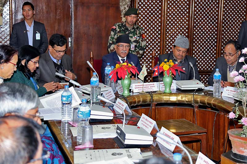 Prime Minister and Chancellor of Tribhuvan University Pushpa Kamal Dahal attends the 42nd Senate meeting in Kirtipur, on Wednesday, January 4, 2017. Photo Courtesy: PMu2019s Secretariat