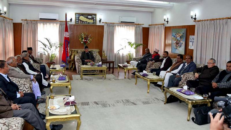 Prime Minister Pushpa Kamal Dahal in a meeting with the leaders of the major political parties in his residence at Baluwatar, on Monday, January 30, 2017. Photo: PM's Secretariat