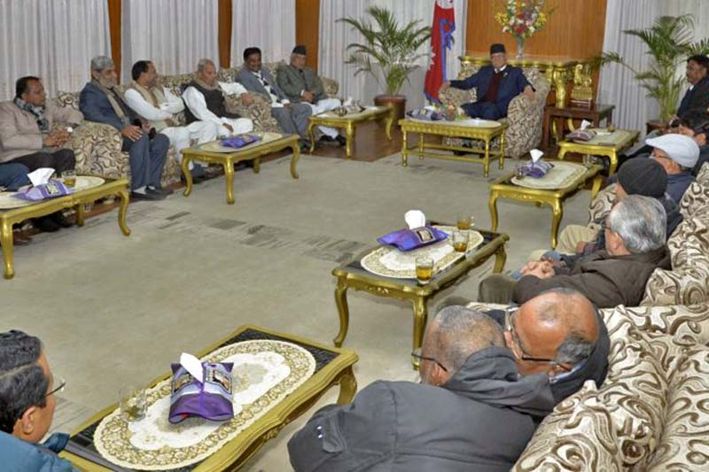 Prime Minister Pushpa Kamal Dahal in a meeting with the leaders of the United Democratic Madhesi Front (UDMF) at his residence in Baluwatar, on Thursday, January 5, 2017. Photo Courtesy: PM's Secretariat