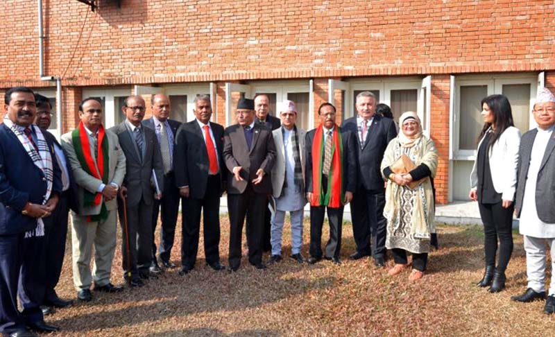 Prime Minister Pushpa Kamal Dahal with the representatives of Press Councils from Nepal, India, Cyprus and Bangladesh, in Kathmandu, on Thursday, January 12, 2017. Photo Courtesy: PM's Secretariat