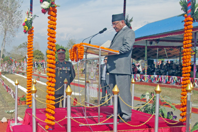 Prime Minister Pushpa Kamal Dahal addresses a convocation function of Armed Police Force Inspectors at the Armed Police Force Training Academy in Lamptan, Pokhara of Kaski district, on Thursday, January 26, 2017. Photo: Rishi Ram Baral