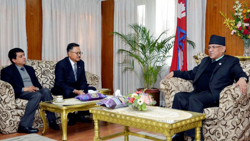Indonesian Ambassador to Nepal Iwan Waranata-Atmadja pays a farewell call on Prime Minister Pushpa Kamal Dahal in Baluwatar, Kathmandu on Thursday, January 19, 2017. Photo: PM's Secretariat