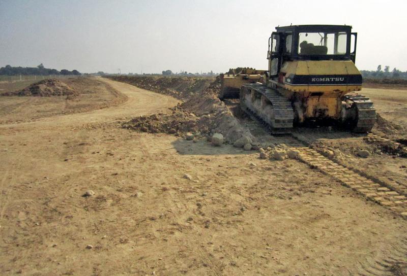 Upgradation work going on in full swing at Rajbiraj Airport, in Saptari, on Monday, January 9, 2017. Photo: THT