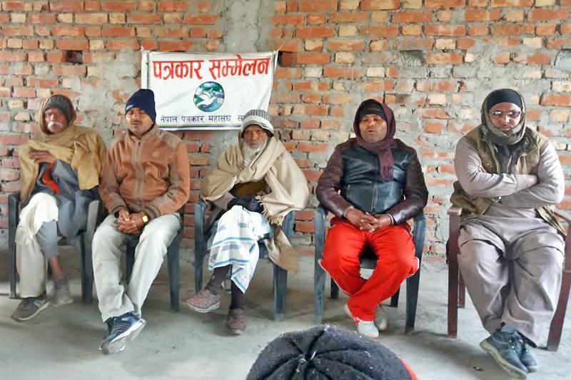 Locals of Maleth VDC holding a press meet, in Rajbiraj, Saptari, on Saturday, January 7, 2016. THT