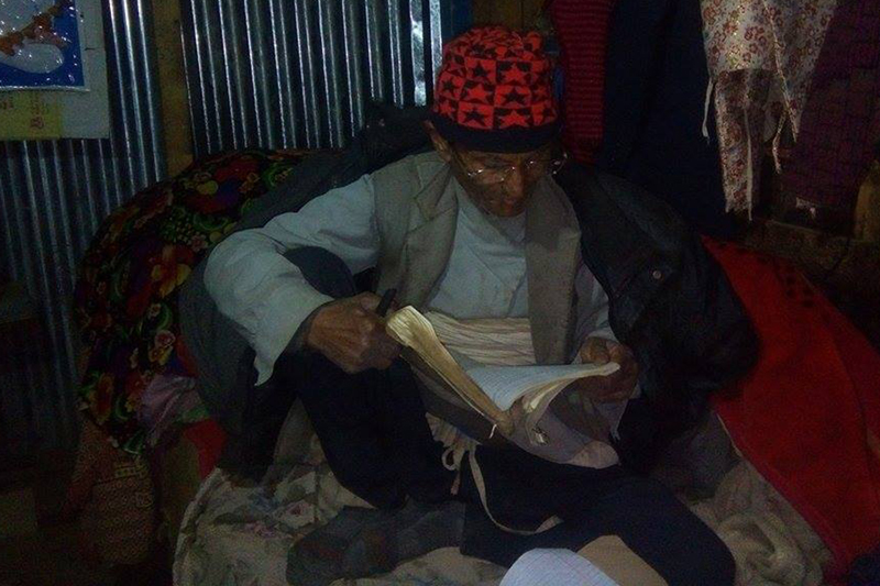 Ram Bahadur Karki (74) of Dhaule in Garjang-2 of Ramechhap district is currently studying in Grade VIII at local Chateshwori Higher Secondary School. Photo: RSS