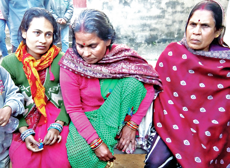 Family members of Lalmuni Kumari, who was killed under suspicious circumstances on Saturday, demanding stern action against the accused, in District Police Office, Rautahat, on Sunday, January 8, 2016. Photo: THT
