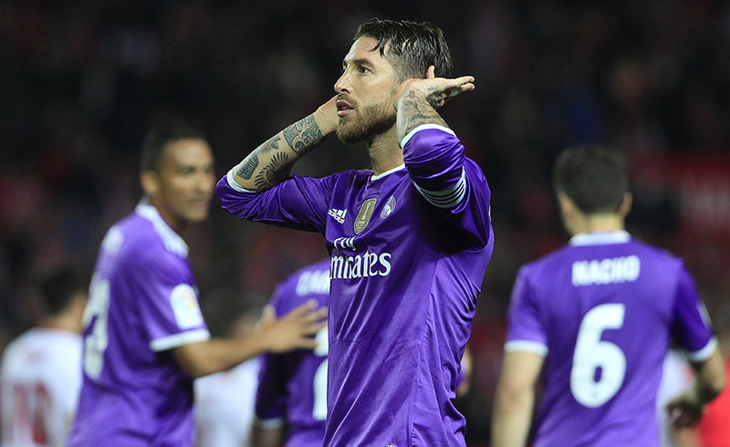 Real Madrid's Sergio Ramos celebrates after scoring against Sevilla during a Spain's King's Cup soccer match between Real Madrid and Sevilla at the Ramon Sanchez Pizjuan stadium, in Seville, Spain on Thursday, January 12, 2017. Photo: AP