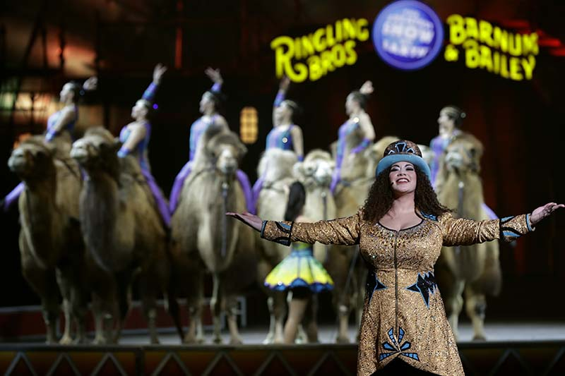 Ringling Bros and Barnum & Bailey Ringmaster Kristen Michelle Wilson performs in Orlando, Florida on Saturday, January 14, 2017. Photo: AP
