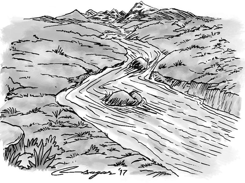 River. Illustration: Ratna Sagar Shrestha/THT