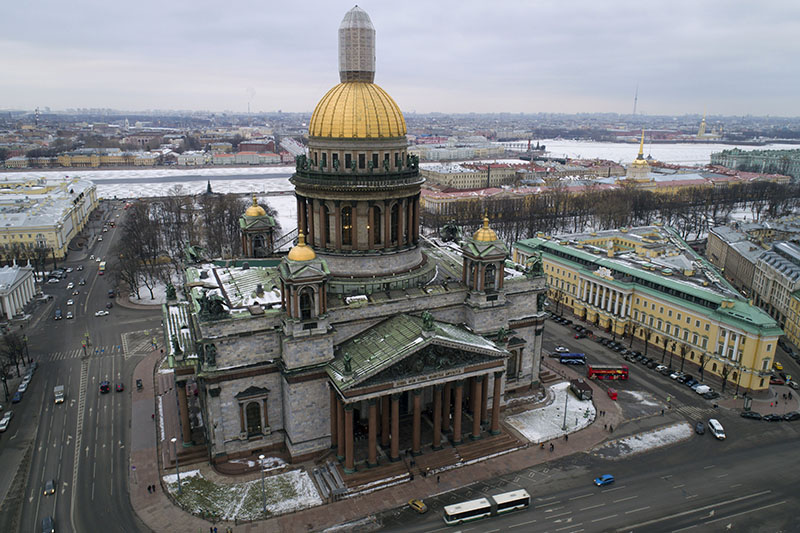 FILE - An aerial view of St Isaac's Cathedral in St Petersburg, Russia, on Thursday, January 12, 2017.  Photo: AP