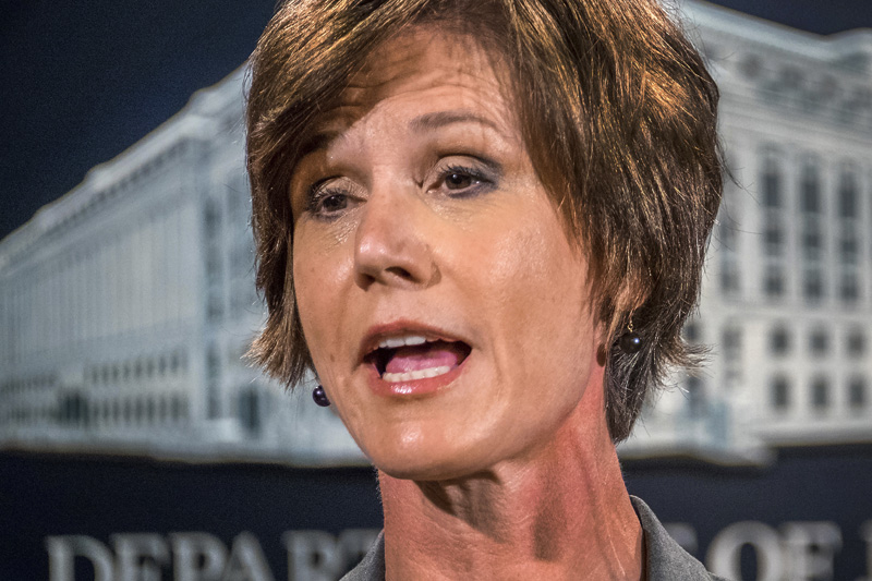 FILE - In this June 28, 2016, file photo, then-Deputy Attorney General Sally Yates speaks at the Justice Department in Washington. Photo: AP