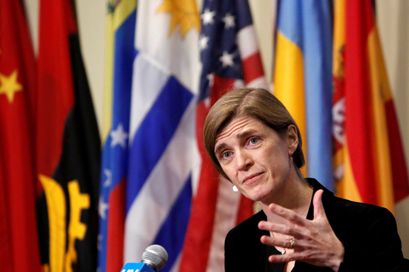 United States Ambassador to the United Nations Samantha Power addresses media following a United Nations Security Council vote, aimed at ensuring that UN officials can monitor evacuations from besieged parts of the Syrian city of Aleppo, at the United Nations in Manhattan, New York City, US, December 19, 2016. Photo: Reuters