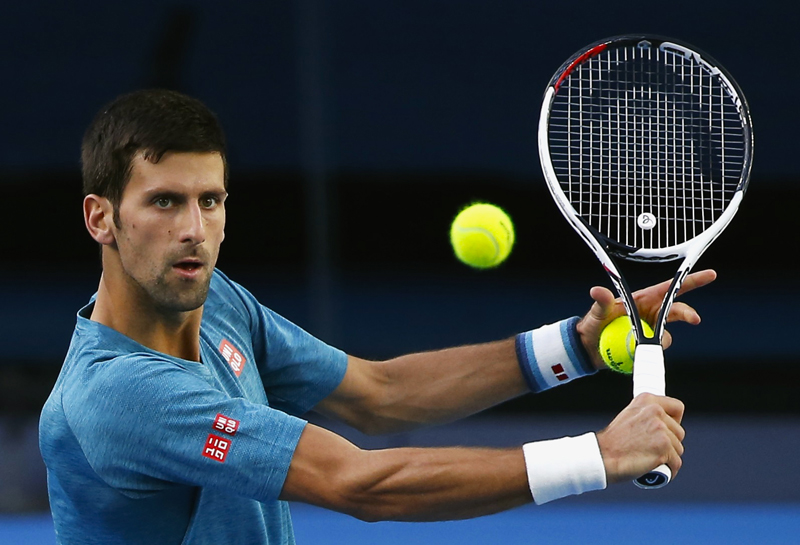 Serbia's Novak Djokovic hits a shot during a training session ahead of the Australian Open tennis tournament, in Melbourne, Australia January 15, 2017. Photo: Reuters