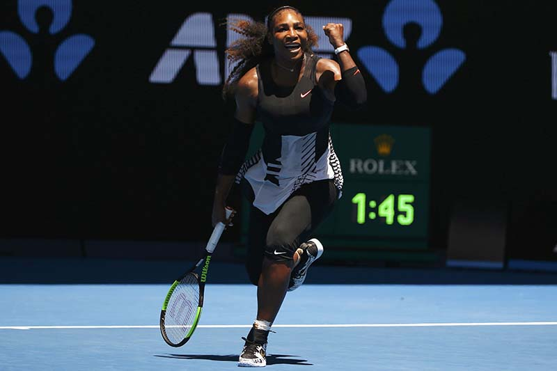 Serena Williams of the US celebrates winning her Women's singles fourth round match of the Australian Open against Barbora Strycova of Czech Republic at the Melbourne Park, in Melbourne, Australia on Monday, January 23, 2017. Photo: Reuters