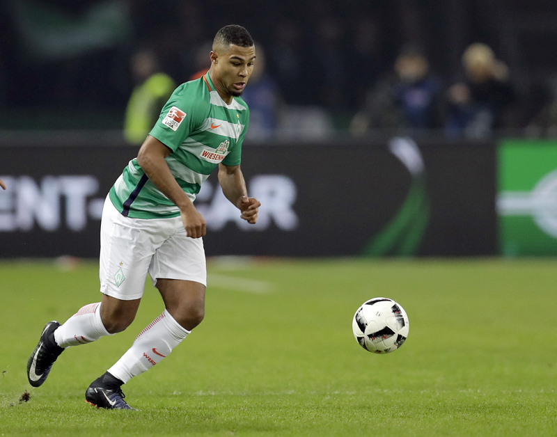 In this Dec. 10, 2016 picture Werder Bremen's Serge Gnabry plays the ball during the German Bundesliga soccer match between Hertha BSC Berlin and SV Werder Bremen in Berlin, Germany. Photo: AP
