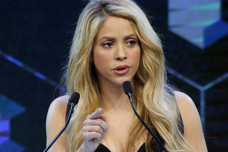 Colombian singer and 'Crystal Award' winner Shakira speaks during the 'Crystal Awards' ceremony on the eve of to the World Economic Forum in Davos, Switzerland, on Monday, January 16, 2017. Photo: AP