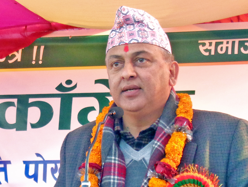 Minister for Forest and Soil Conservation Shankar Bhandari speaks at a programme in Pokhara, on Saturday, January 7, 2017. Photo: RSS