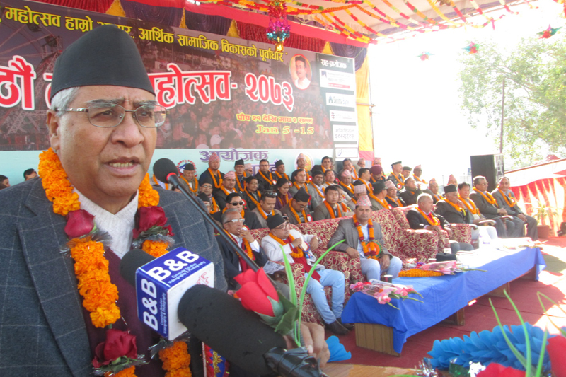 Nepali Congress President Sher Bahadur Deuba addresses the inauguration of the 6th Tanahun Festival, in Damauli on Thursday, January 5, 2017. Photo: Madan Wagle