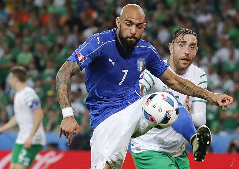 FILE -  Italy's Simone Zaza goes for the ball during the Euro 2016 Group E soccer match between Italy and Ireland at the Pierre Mauroy stadium in Villeneuve d'Ascq, near Lille, France, on Wednesday, June 22, 2016. Photo: AP
