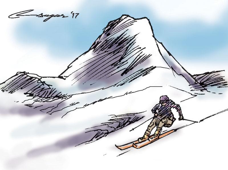 Ski. Illustration: Ratna Sagar Shrestha/THT