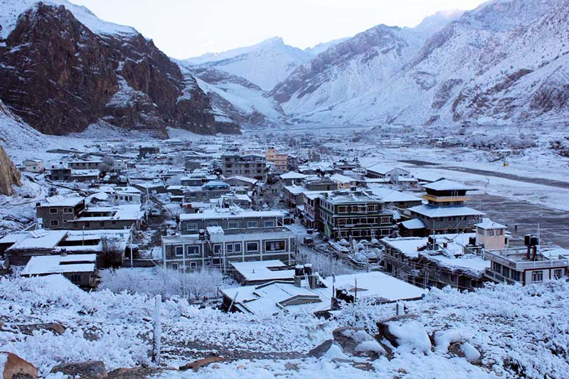 FILE: Snow-covered Jomsom of Mustang is seen a day after the snowfall, on Tuesday, January 3, 2017. Photo: RSS