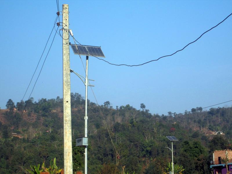 Solar panel lights installed at Baireni in Byas Municipality of Tanahun district, on Tuesday, January 24, 2017. Photo: Madan Wagle