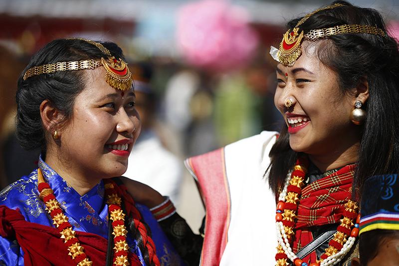 Women from Tamang community smile. Photo: Skanda Gautam/THT