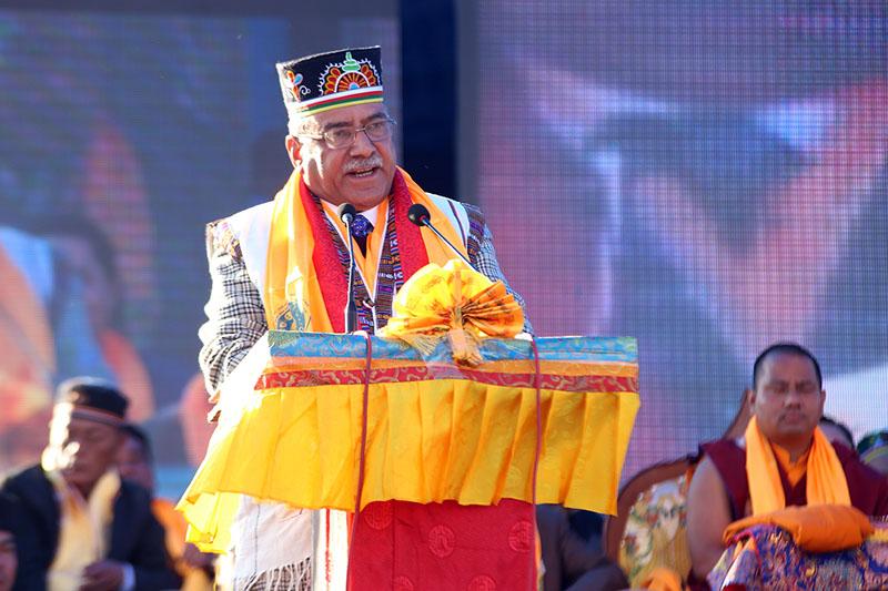 Prime Minister Pushpa Kamal Dahal in Tamang's traditional costumes addresses  a programme organised by Nepal Tamang Ghedung to mark the Sonam Lhosar, at Tundikhel, Kathmandu, on January 28, 2017. Photo: PM's Secretariat