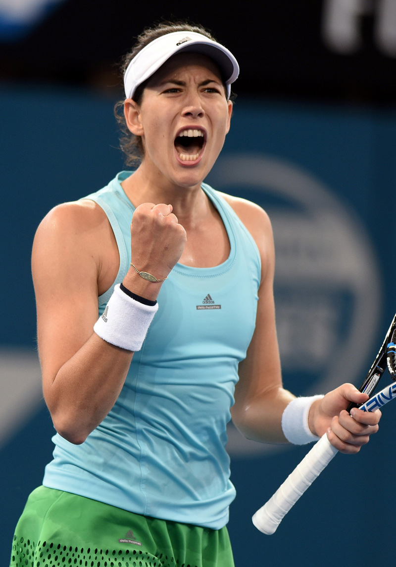 Spain's Garbine Muguruza reacts after winning a point during her match against Russia's Svetlana Kuznetsova. Photo: Reuters