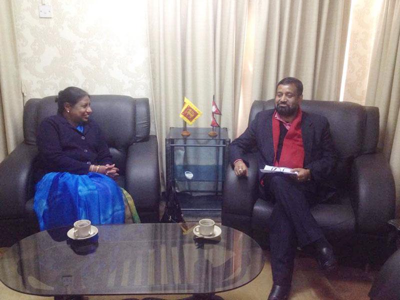 Sri Lanka's Ambassador to Nepal WS Perera pays courtesy call on Deputy Prime Minister and Home Minister Bimalendra Nidhi, at the Ministry of Home Affairs, on January 10, 2016. Photo courtesy: Ramjee Dahal