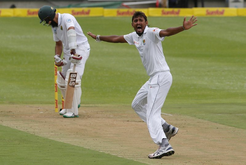 Sri Lanka's Suranga Lakmal appeals unsuccessfully for the wicket of South Africa's Hashim Amla. Photo: Reuters