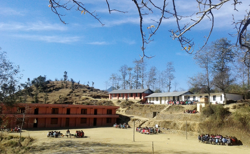 Students conducting academic activities in a playground of Manilake Secondary School in Baitadi district, on Thursday, January 26, 2016. Photo: RSS