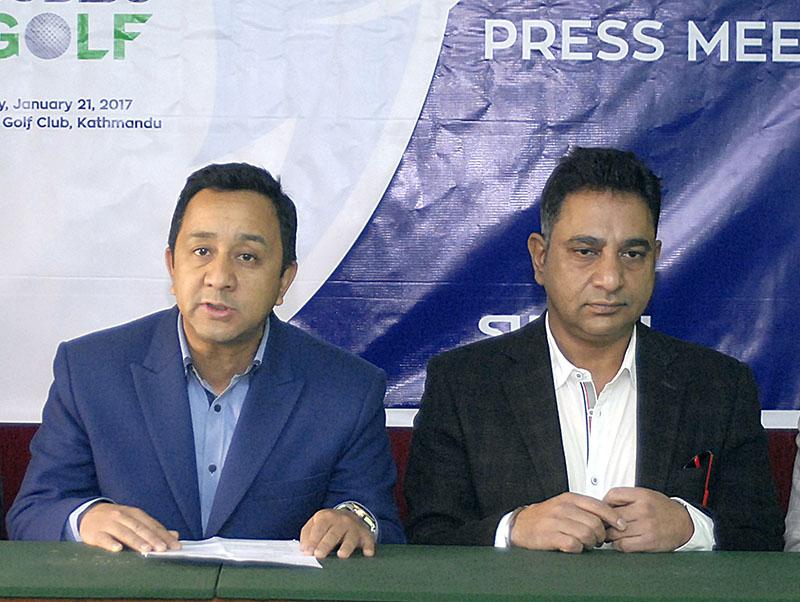 Subisu Cablenet Pvt Ltd CEO Binay Mohan Saud (left) speaks as Royal Nepal Golf Club Member Kishan Agrawal looks on during a press meet in Kathmandu on Thursday, January 19, 2017. Photo: THT