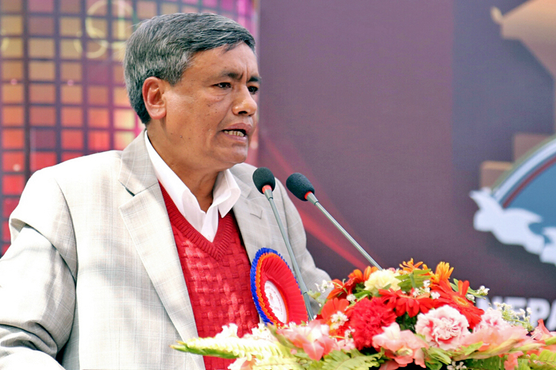 Minister for Information and Communication Technology Surendra Kumar Karki speaks at a function organised on the occasion of 32nd anniversary of Nepal Television in Kathmandu, on Monday, January 30, 2017. Photo: RSS
