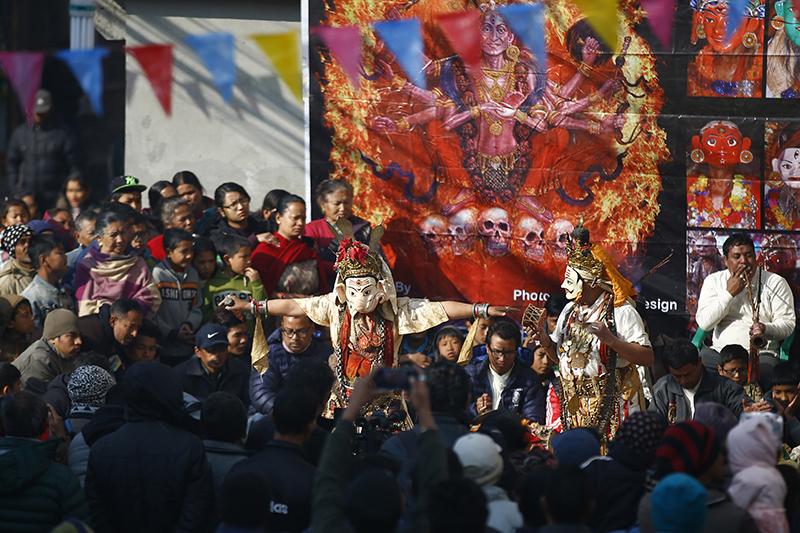 Local artistes perform traditional dance during the Shewatakali Naradevi festival in Banepa. Photo: Skanda Gautam