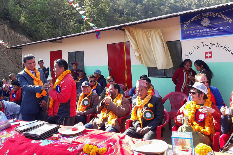 Swiss tourists participating in a programme held to handover a school building constructed by them to locals, in Lapsiphedi, Kathmandu, on Saturday, January 7, 2017. Photo: THT