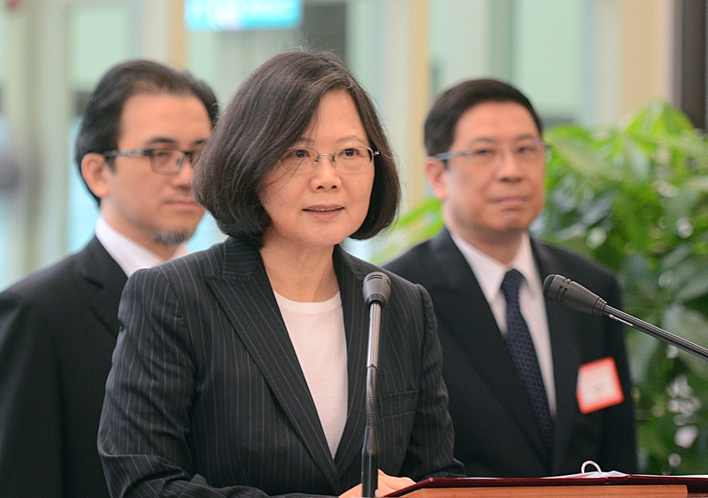Taiwan's President Tsai Ing-wen delivers a speech before traveling to visit Central American allies including a US transit, Saturday, Jan. 7, 2017, at the Taoyuan International Airport in Taouyuan, Taiwan. Photo: AP