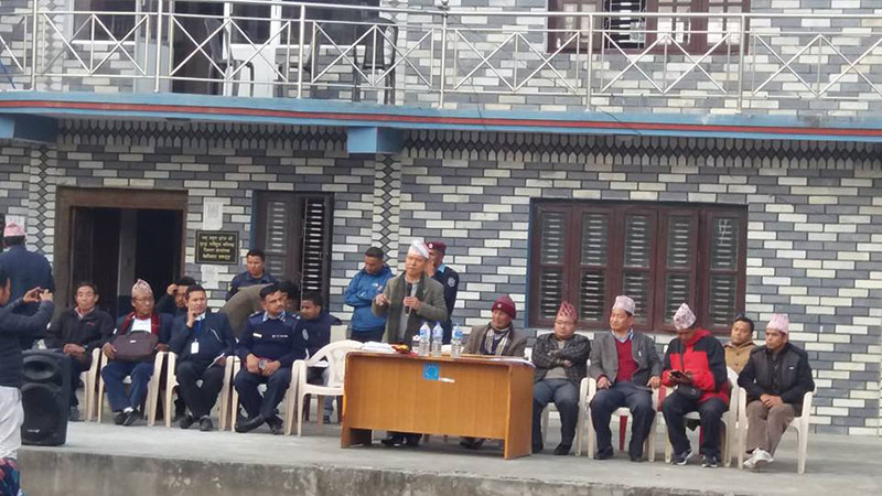 Lawmaker Jamindra Man Ghale speaking after the Tamu Museum, which was padlocked due to a dispute for the past three years, opened from Wednesday, in Besisahar, Lamjung, on Thursday, January 19, 2017. Photo: THT