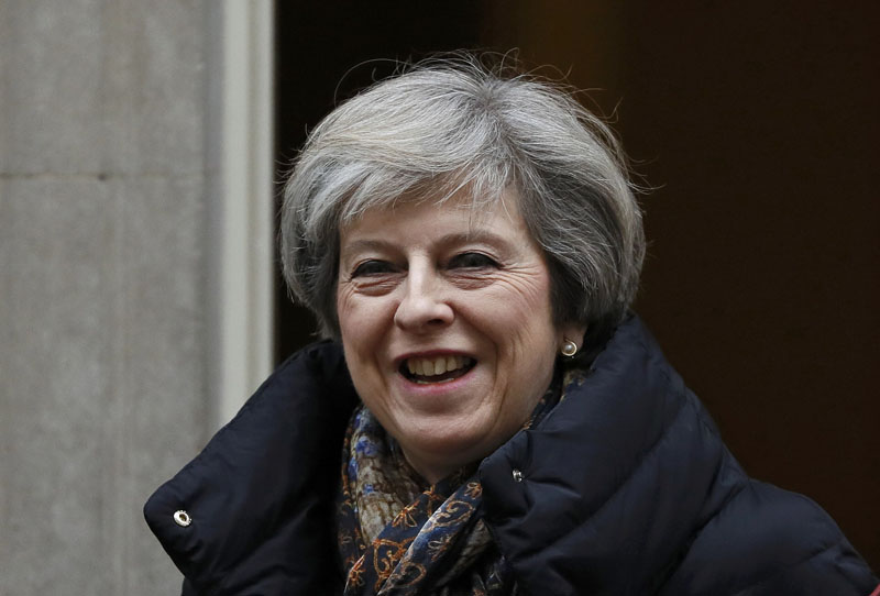 FILE: Britain's Prime Minister Theresa May leaves Number 10 Downing Street in London, Britain, on January 25, 2017. Photo: Reuters