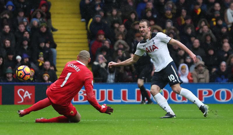 Tottenham's Harry Kane scores their first goal. Photo: Reuters