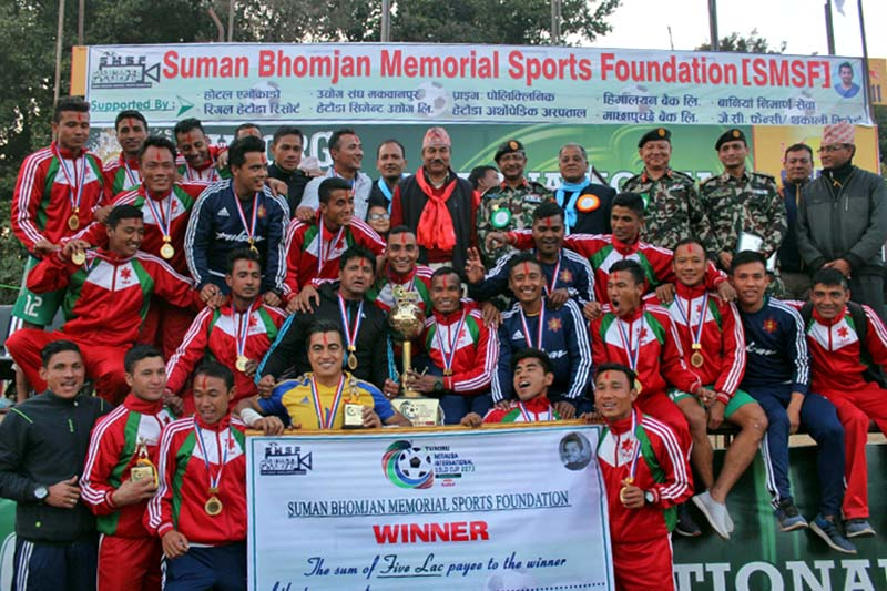 Tribhuvan Army Club team members celebrate with officials after winning the second Tuborg Hetauda Gold Cup International Invitational Football Tournament at the Forestry University grounds in Hetauda on Saturday, January 7, 2017. Photo: THT