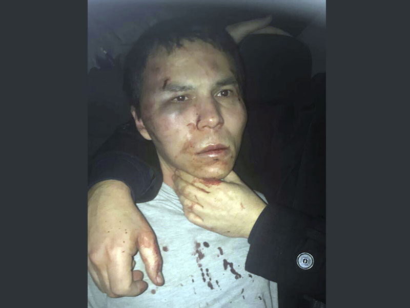 Reina club attacker after being caught by Turkish police in Istanbul, late Monday, January 16, 2017. Photo: Depo Photos via AP