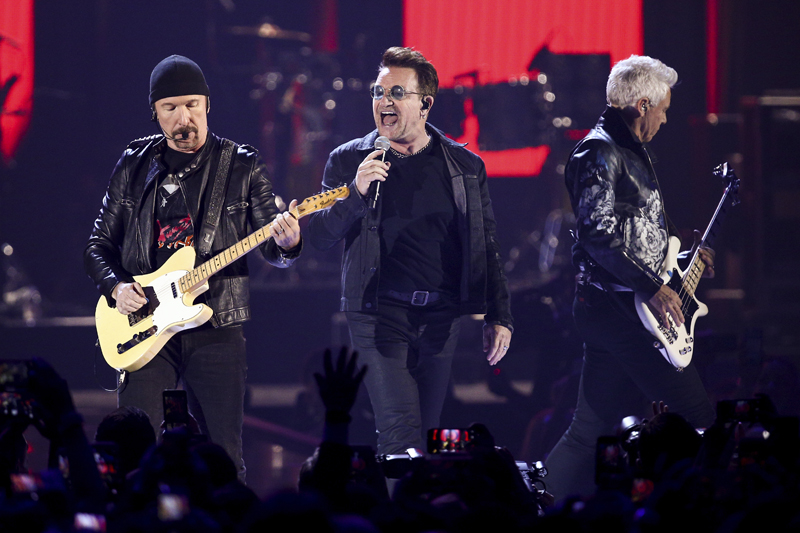 FILE - In this Sept. 23, 2016, file photo, The Edge, from left, Bono and Adam Clayton of the music group U2 perform at the 2016 iHeartRadio Music Festival at T-Mobile Arena in Las Vegas. Photo: AP